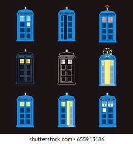 Set of British Police Boxes. London public call.