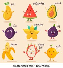 Set of brivocado, watermelon, fig, banana, carambola, dragon fruitght fresh fruits. Apple, pear, plum, avocado, plum, carambola, banana, fig, dragon fruit