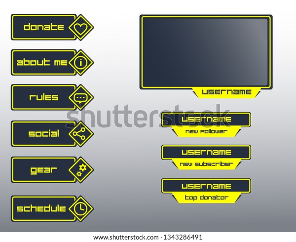 Set Broadcasting Panels Overlays Cybersport Gaming Stock