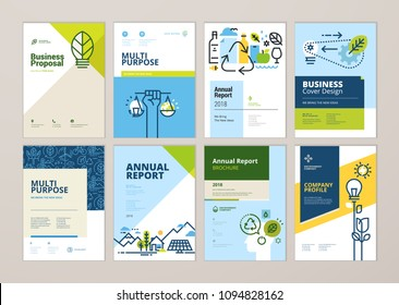 Set of brochure and annual report cover design templates of nature, green technology, renewable energy, sustainable development, environment. Vector illustrations for flyer layout, marketing material.