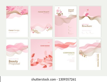 Set of brochure and annual report design templates for beauty, spa, wellness, natural products, cosmetics, fashion, healthcare. Vector illustrations for business presentation, and marketing material.