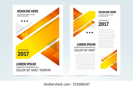 Set Brochure Design Template Cover Flyer print size A4 booklet business report, triangles geometric abstract yellow color
