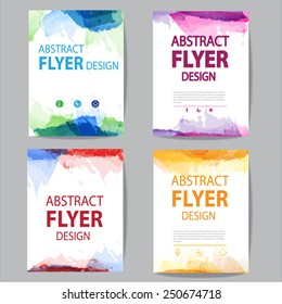 set of  brochure, flyer modern watercolor template