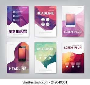 Set of brochure, flyer, report design templaes with triangular polygonal background, smartphone, mobile, technology. Clean and modern style