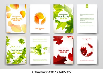 Set of brochure, poster templates in autumn style. Beautiful design and layout