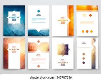 Set of brochure, poster templates in Hanukkah style. Beautiful design and layout