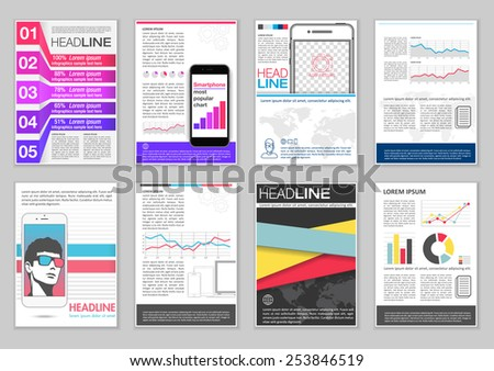 set brochure template infographic elements charts stock vector