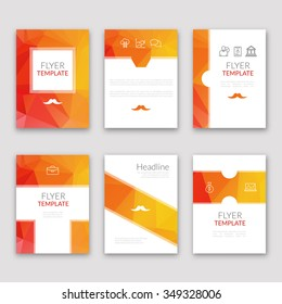 Set of brochures in poligonal style. Beautiful frames and backgrounds. Company Style for Brandbook and Guideline Identity.