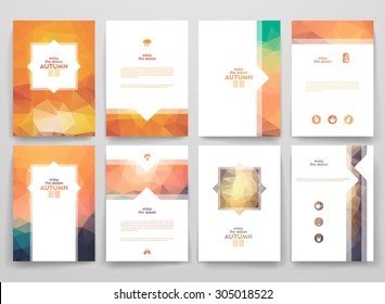 Set of brochures in poligonal style on Autumn theme. Beautiful frames and backgrounds.