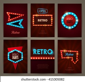 Set of brochures in retro style. Vector illustration. Retro light frames.