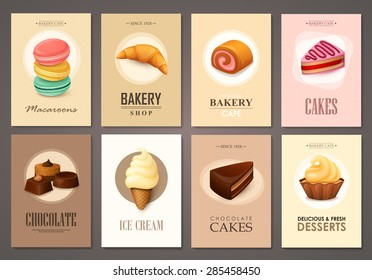 Set of brochures with sweets. Vector templates. Backgrounds with ice cream, cakes, cupcakes and candies.