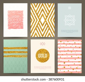 Set of brochures in vintage style with hand drawn design elements. Vector templates. Trendy patterns and textures.