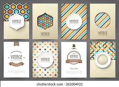 Set of brochures in vintage style. Vector design templates. Vintage frames and backgrounds.