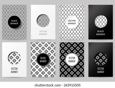Set of brochures in vintage style. Vector design templates. Vintage frames and backgrounds. Black and white card. Rhombus