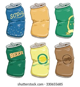 Set Of Broken Beer, Lime, Coffee And Soda Cans With Color And Doodle Or Sketchy Style