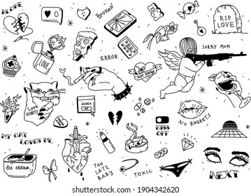 Set of broken heart stickers. Anti-valentine day. Black tattoo elements collection. Heart, tears, parting, sadness, wine, cigarettes. Doodle style clipart. Vector. For print and web design.