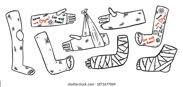 Set of broken legs, arms and hands cast doodles with positive writings from friends. Collection of injured limbs in gypsum plasters. Get well soon wishes. Media glyph graphic icons