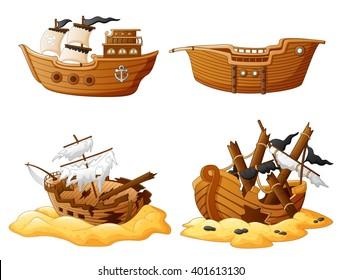 set of broken pirate ship
