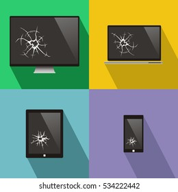set of broken screen of smart phone, computer, notebook, tv, monitor and digital tablet. flat vector illustration with long shadow