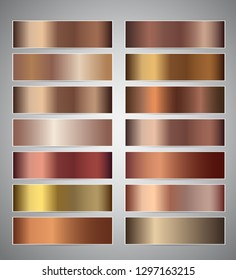 Set of bronze gradient vector banners templates or website headers. Vector gradation design for your banners, headers, footers, flyers, cards. Christmas beige copper cuprum foil chrome banners