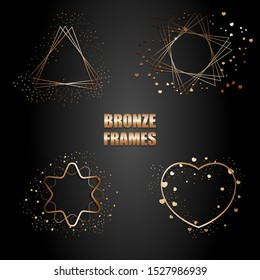 Set of bronze metallic frames with sparkles. Vector Isolated objects on a black background. Used for wedding invitations, birthday cards, banners,