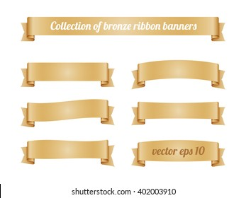 Set of bronze ribbon banners for promotion. Collection of beige retro scroll elements for design. Vector illustration.