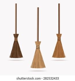 Set of the brooms. Halloween accessory object.  Broom cartoon vector illustration