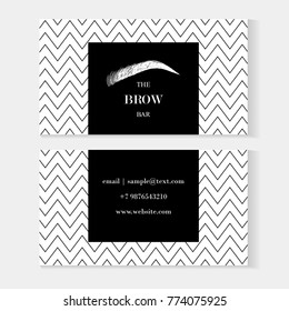 Set of brow bar artist business cards template with beautiful hand draw eyebrow. Brow Bar logo for beauty studio. Modern card on black and white background with zigzag beautiful hand drawing eyebrow