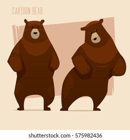 Set of brown bears. Cartoon characters. Icon. Vector illustration