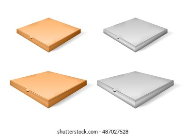 Set of brown cartoon and paper pizza box. Vector illustration. Realistic 3d closed isometric pizza isolated perspective view.
