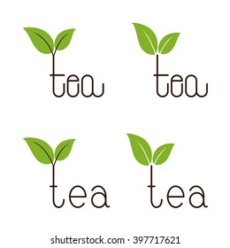 Set of brown colored tea lettering with two green leaves over letter t isolated on white background. Logo template, design element, menu decoration