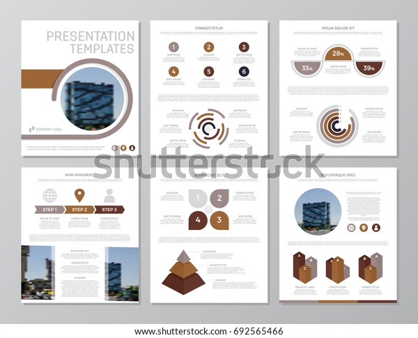 Set of brown elements for multipurpose a4 presentation template slides with graphs and charts. Leaflet, corporate report, marketing, advertising,  book cover design.