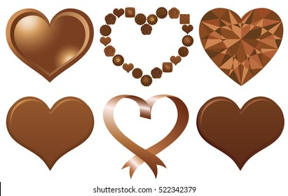 Set of brown hearts. chocolate heart.