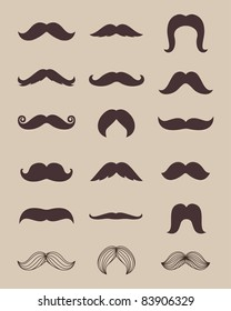 Set of brown mustaches