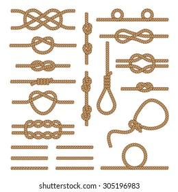 Set brown ropes intertwined in different nodes and plus six other designs ropes.