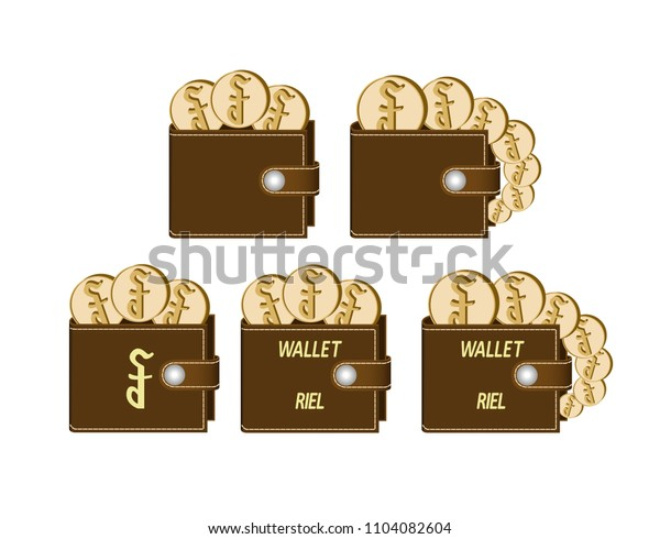 set of brown  wallets with riel coins on a white background , currency in the wallet,sign and symbol currency concept in the form of coins,words wallet riel and sign on the face of the wallet