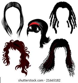 set of brunette hair style samples for woman