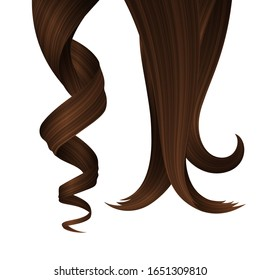 Set of Brunette Wavy Strands of Hair. Vector Realistic 3d Illustration. Design Element for Hairdressers, Beauty Salons, Hair Care Cosmetics, Shampoo, Conditioner or Hair Dye Packaging