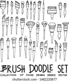 Set of Brush Drawing illustration Hand drawn doodle Sketch line vector
