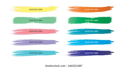 Set of brush or lower third brush pack. Vector illustration. Isolated on white background.