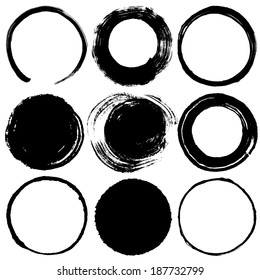 Set of brush stroke circles.