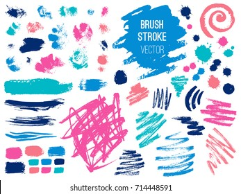 Set brush stroke. Brush, pen, marker, chalk. Vector distressed grunge modern textured brush stroke. Dry brush. Hand drawn vector.