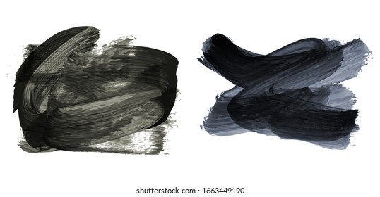 Set of brush stroke and texture. Grunge vector abstract hand - painted element. Underline and border design.