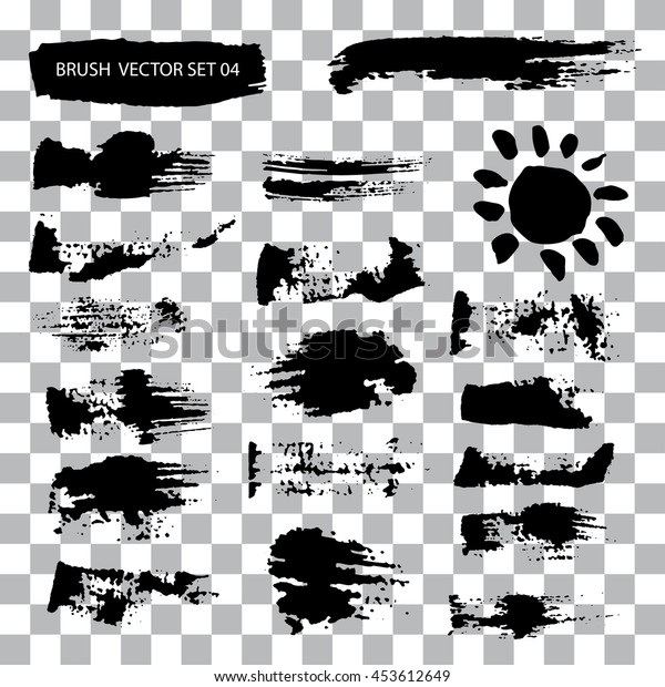 Set of brush stroke vector stains isolated