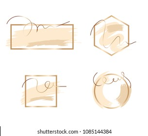 Set of brush strokes in gentle tones.Gentle nude pastel colors.Rose gold frame.Abstract vector background.Shiny golden frame.Sparkle glossy scribble, grunge or smudge. Glam style cosmetic.
