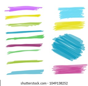 set of brush strokes, marker, different colors, suitable for background and decoration