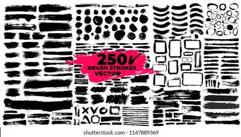Set of brush strokes. Paintbrush boxes for text. Grunge design elements. Dirty texture banners. Ink splatters. Vector illustration. Isolated on white background. Freehand drawing