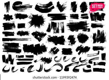 Set of brush strokes. Paintbrush boxes for text. Grunge design elements. Dirty texture banners. Ink splatters. Vector illustration. Isolated on white background. Freehand drawing.