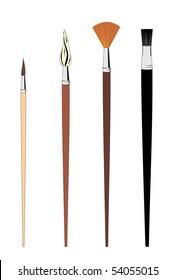 The Set Of Brushes isolated on white background