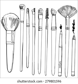 A set of brushes for make-up painted line. Sketch tool, vector sketch